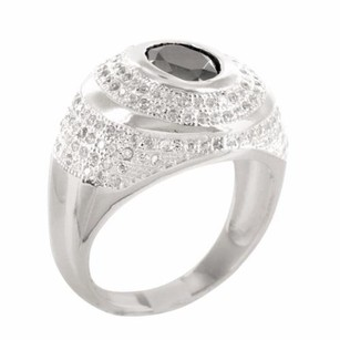 Mens Black Onyx Solitaire Lab Diamond Signet Style Pinky Ring Band In Silver 925