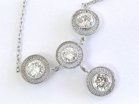 Platinum Vintage Round Cut Diamond 4-stone Necklace 2.96ct 16.5 E-vvs2