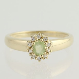 Other Prehnite Solitaire White Sapphire Halo Ring 14k Yellow Gold Fine Womens 0.22ctw