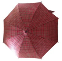 Pretty plaid umbrella with curved handle