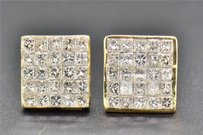 Princess Cut Diamond Invisible Studs Mens 14k Yellow Gold Earrings 1.10 Ct
