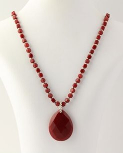Other Quartzite Strand Necklace - 925 Sterling Silver Beads Red Womens Fine