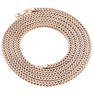 Real 10k Rose Gold 3d Hollow Franco Box Link Chain 3mm Necklace 22-30 Inches