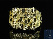 Real Mens 10k Yellow Gold Nugget Style Custom Designer Fancy Ring