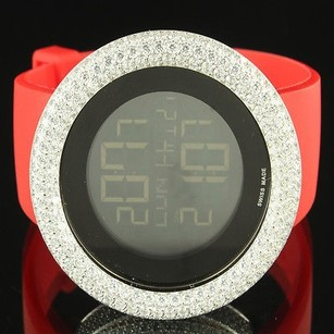 Other Red Band Bling Master Custom King Ice Digital Time Date Lab Diamond Bezel Watch