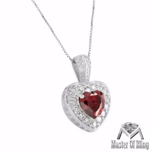 Red Ruby Heart Pendant Necklace White Gold Tone Sterling Silver Lab Diamond