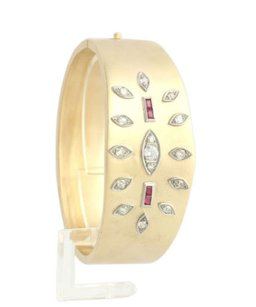 Retro Bangle 7 1.85ctw Genuine Diamond .60ctw Syn Ruby Bracelet - 14k Gold A