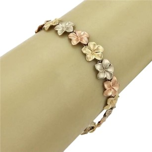 Retro Spring Flower Links 14k Tri-color Gold Bracelet