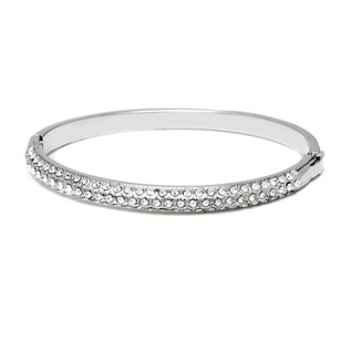 Other Rhodium Plated Silver and White Swarovski Elements Bangle Bracelet