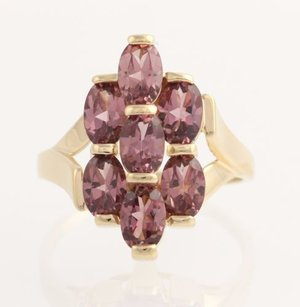Other Rhodolite Garnet Cocktail Ring - 14k Yellow Gold January 14 Genuine 3.85ctw