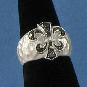 Rhonda Faber Green Fleur De Lis Ring 0.23cts Bw Diamonds 925 6.75