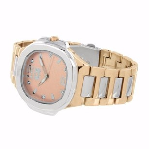 Rose Gold Silver Tone Watch Ice Master Unique Look Steel Back Water Resistant