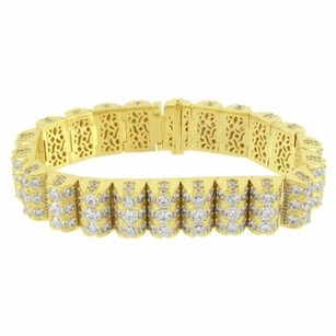 Row Tennis Bracelet Dome Link Mens Gold Tone Sterling Silver High End Classy