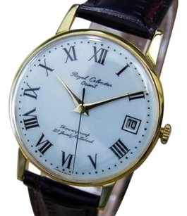 Other Royal Calendar Orient Vintage 1960s Japanese Mens Gold Plated Dress Watch Q40