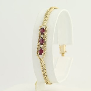 Other Ruby Diamond Double Rope Chain Bracelet 7 - 14k Yellow Gold July 1.31ctw