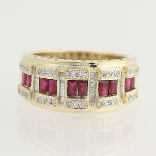 Ruby Diamond Ring - 14k Yellow Gold Womens July Birthstone Band 1.30ctw