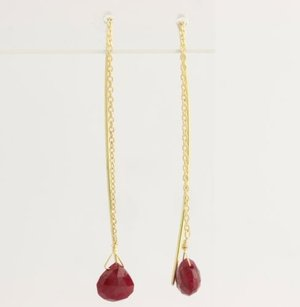 Ruby Threader Earrings - 18k Yellow Gold High Karat Briolette Opaque Genuine