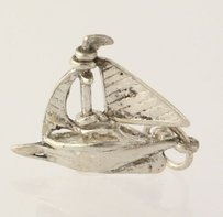 Sailboat Charm - Sterling Silver 3d Sails Move 925 Pendant Estate Nautical