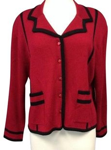 Sam Remo By Laura Knits Red Black Rayon Button Front Blazer Sma 3873