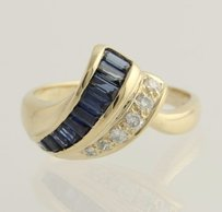 Other Sapphire Diamond Cocktail Ring - 14k Yellow Gold 34 Genuine .75ctw