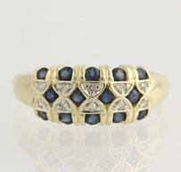 Sapphire Diamond Cocktail Ring- 14k Yellow White Gold September Fine 1.30ctw