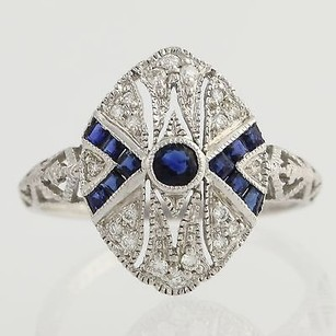 Sapphire Diamond Cocktail Ring - 18k White Gold Womens 34 Genuine .65ctw