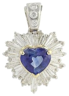 Sapphire Diamond Heart Pendant - 14k Yellow White Gold Halo 6.19ctw