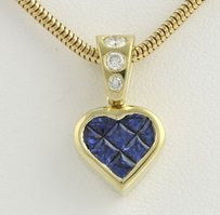 Other Sapphire Diamond Heart Pendant Necklace 15.75 - 18k Yellow Gold Love 1.00ctw