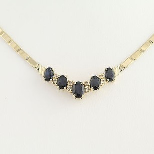 Sapphire Diamond Necklace 16 - 14k Yellow Gold September 3.64ctw