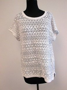 Other Chicos White Silver Metallic Cotton Drop Sleeve Embellished 1 W488 Sweater