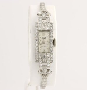 Other Sellita Ladies Wristwatch 34 - 900 Platinum Diamonds Estate Genuine .88ctw