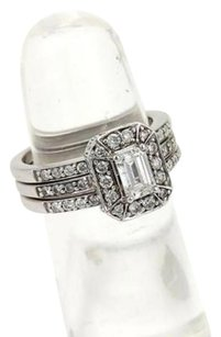 Set Of Diamond 14k White Gold Engagement Ring Wedding Bands