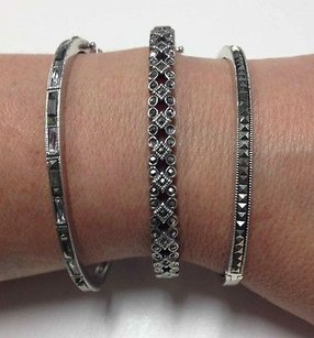 Set Of Sterling Silver Marcasite Stone Accented Clasp Close Bracelets B3040