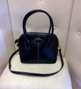 Siso Black Leather Shoulder Bag