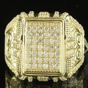 Square Cut Original Design Men Signet Lab Diamond 10k Yellow Gold Groom Ring