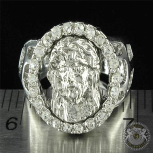 Simulated Diamond Jesus Face Mens Iced Out Signet Ring 14k White Gold Finish