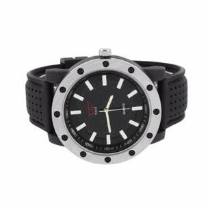 Silicone Caoutchouc Strap Watch Black Dial Water Resistant Steel Back Watch Men