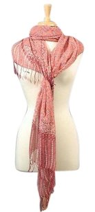 Silk Crepe Scarf Sarong Resort Wear Dress Brick Red Melon White