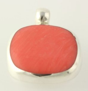 Simulated Coral Pendant - Sterling Silver 925 Chunky Womens Estate Jewelry