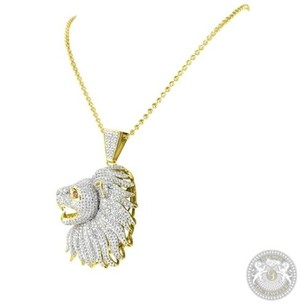 Simulated Diamond 925 Sterling Silver Ishtar Lion Side Face Pendant Bead Chain