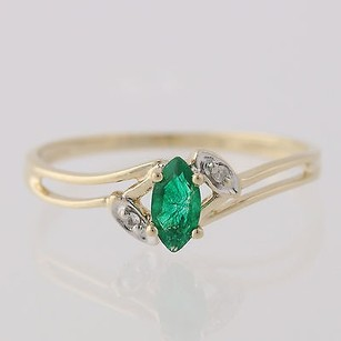 Simulated Emerald Ring - 10k Yellow Gold Marquise Solitaire Bypass Band Womens