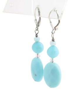 Simulated Turquoise Drop Earrings - Oval Crystal Bead Fashion Jewelry New