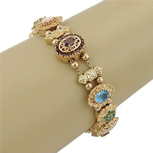 Estate 14k Y. Gold Multi Colored Gemstone Diamond Slide Charm Bracelet