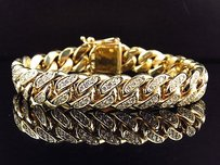 Solid 10k Yellow Gold Miami Cuban Link Vs Diamond Inch 12.9mm Bracelet 9.0ct