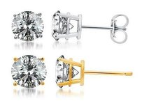 Solid 14k White Or Yellow Gold Round Cut Diamond Solitaire Studs Earrings 1 Ct