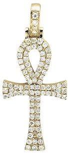 Other Solid 14k Yellow Gold Ankh Cross Genuine Diamond 1 Inch Charm Pendant 0.5ct