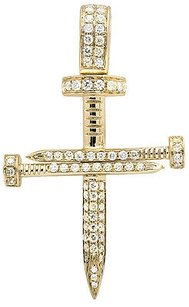 Solid 14k Yellow Gold Nail Cross Genuine Diamond 1.5 Inches Charm Pendant 0.75ct