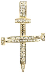 Other Solid 14k Yellow Gold Nail Cross Genuine Diamond 1.5 Inches Charm Pendant 0.75ct