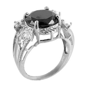 Real 925 Silver White Gold Finish Stylish Black Onyx Round Lab Diamond Ring Sale