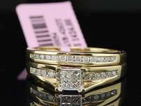 Princess Cut Diamond Bridal Set 10k Yellow Gold Engagement Wedding Ring 0.48 Ct.
